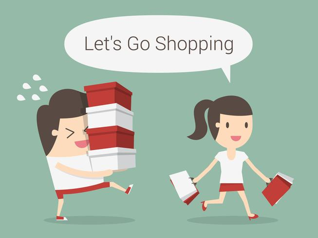 Woman shopping while man carries items vector