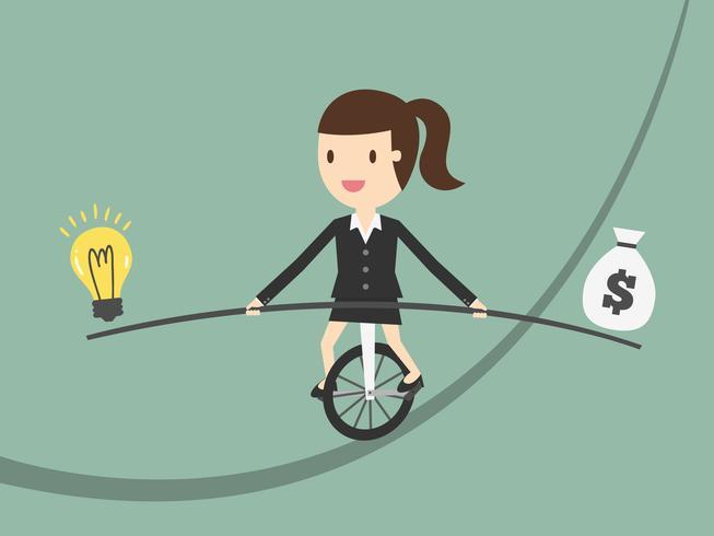 Geschäftsfrau auf balancierenden Ideen und Geld des Seils
