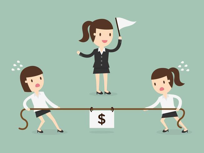 Mujeres de negocios en un tira y afloja vector
