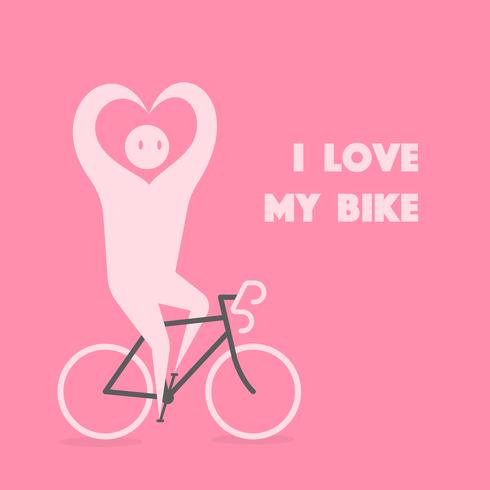Person riding bike with hands in shape of heart vector