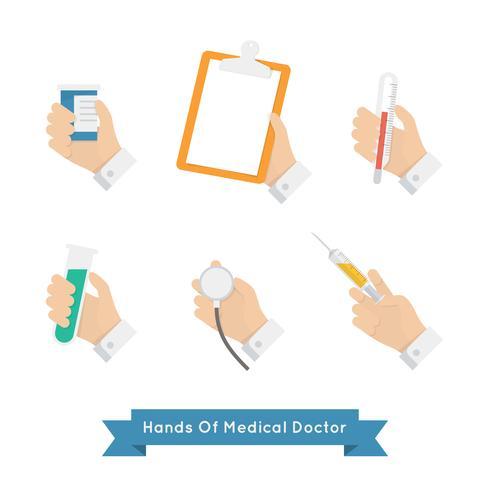 médecin mains icon set