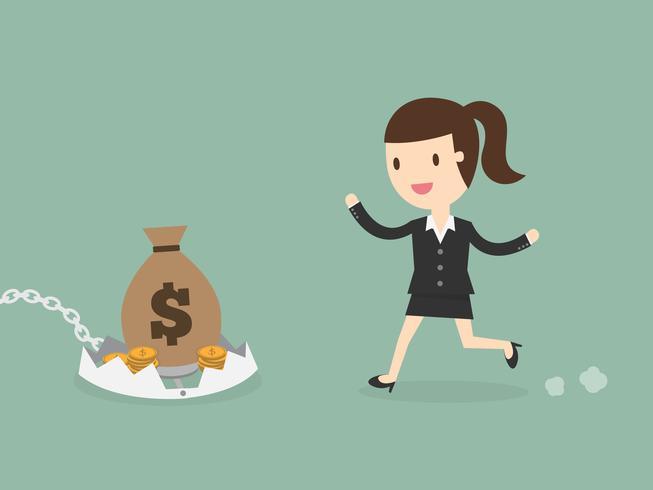 Geschäftsfrau, die zum Geld auf Falle läuft
