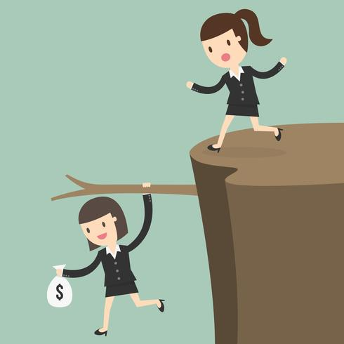 Business woman with money hanging on branch on a cliff vector