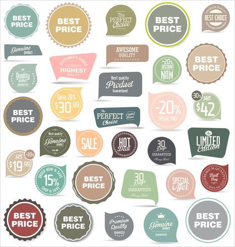 Colección moderna de pegatinas y etiquetas de insignias vector