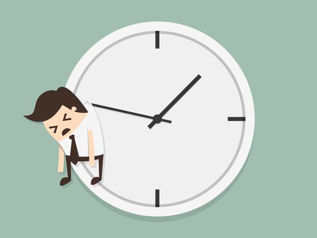 Homme d'affaires est suspendu à l'horloge vecteur
