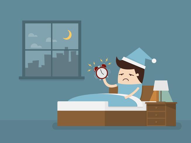 Mann, der früh morgens aufwacht, um zur Arbeit zu gehen