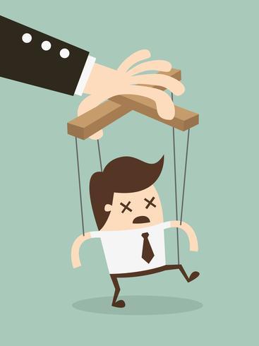 marionnette homme d'affaires sur des cordes main contrôlée