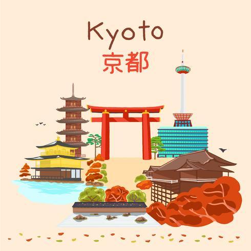 Kyoto Japan höstsäsong vektor