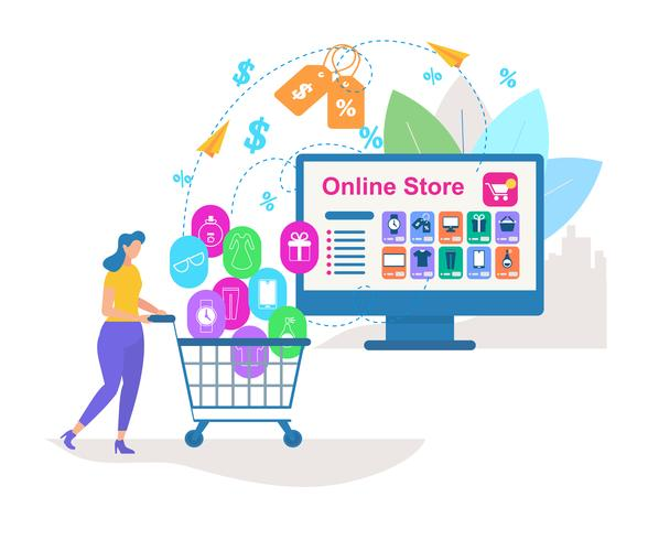 Young Woman Drive Shopping Cart with Purchases vector