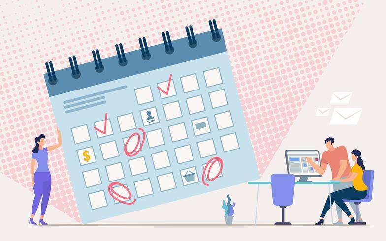 Planering av kontorsarbetsplan vektor