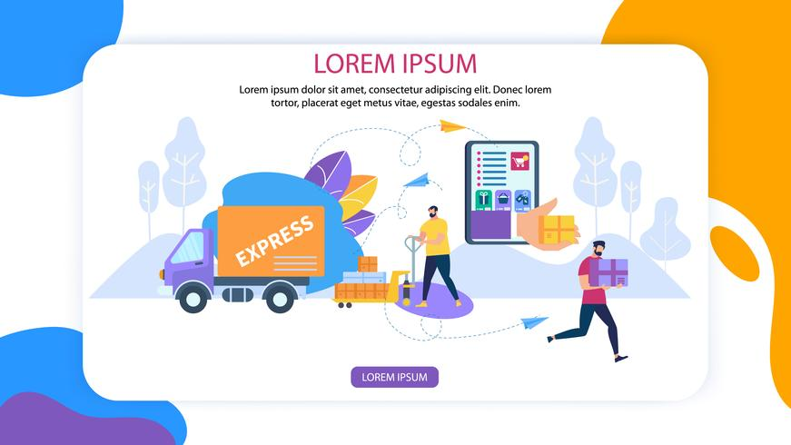 Online Application for Express Delivery Banner vector