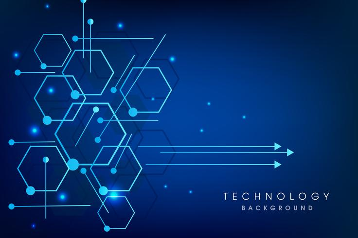 Vector illustration circuit board and hexagons background