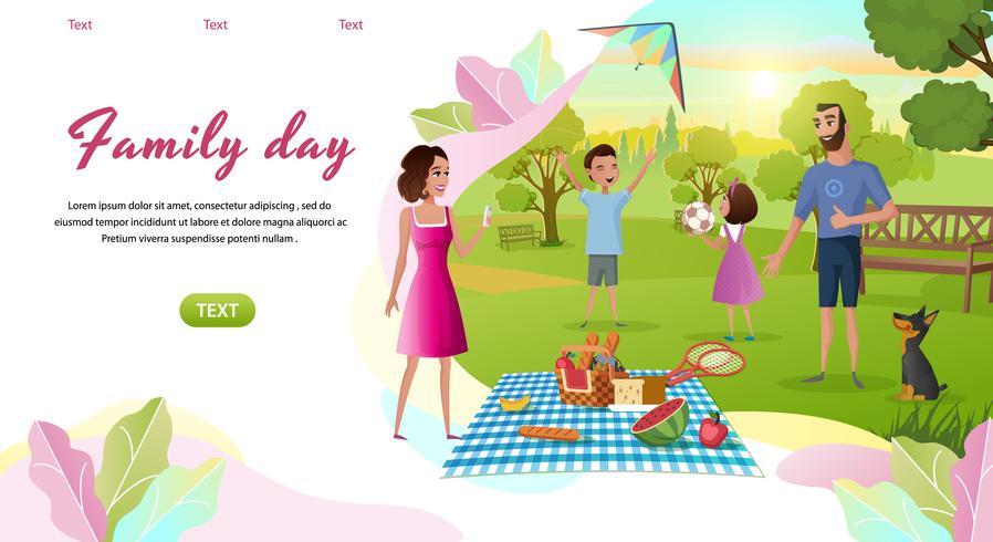 Plantilla de página de aterrizaje del día familiar vector