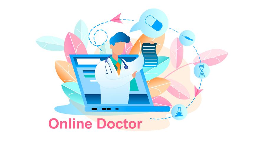 Konsultation online för behandling av läkare