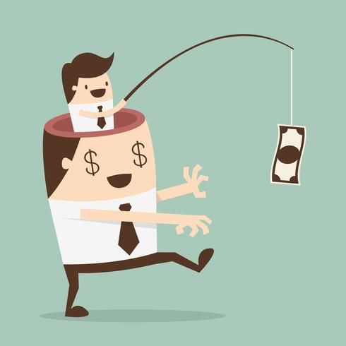 Hombre de negocios motivado por dinero vector