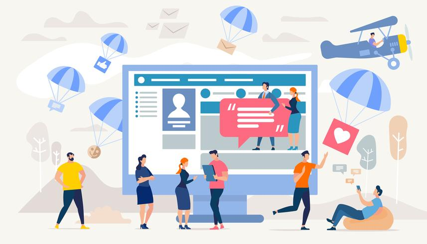 Comunicación en redes sociales vector
