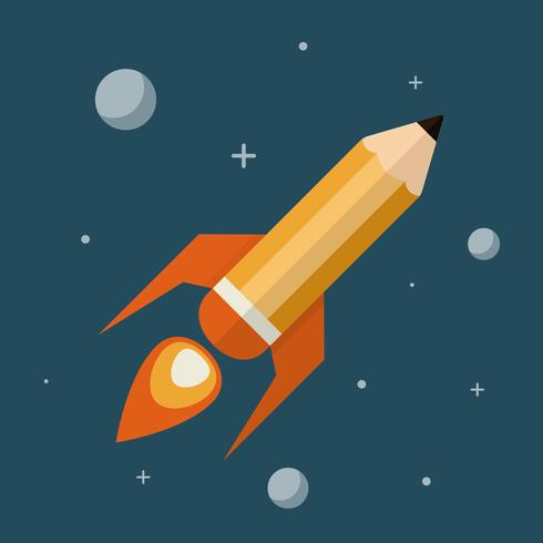 Pencil as Rocket Flying Through Space