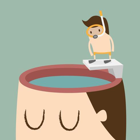 Hombre zambullirse en la cabeza que contiene agua vector
