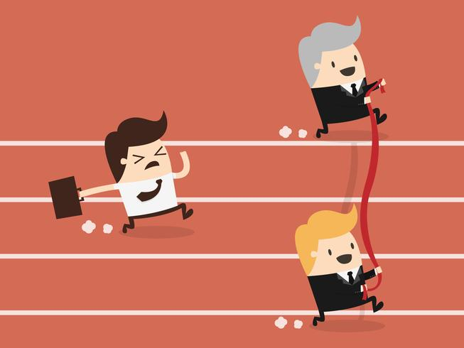 Businessman trying to reach the finish line vector