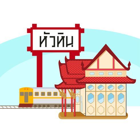 Huahin train station vector