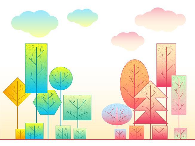 Il paese delle meraviglie colorato geometrico dell'albero vettore