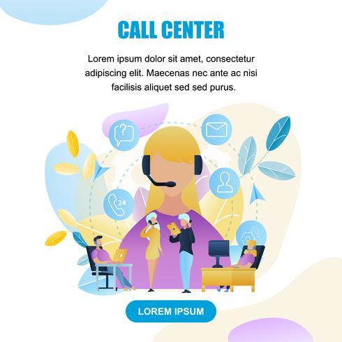 Gruppfolk Call Center Worker Store vektor