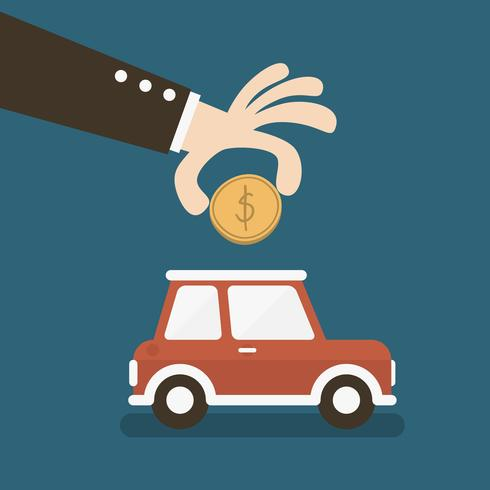 Hand putting coin into car shaped piggy bank vector