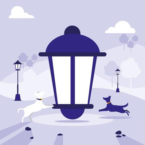 lámpara de parque vector