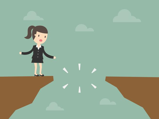 Business woman on cliff in front of a gap
