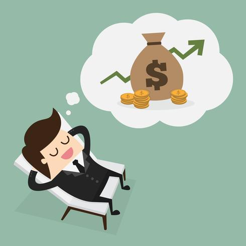 Business man dreaming about money vector