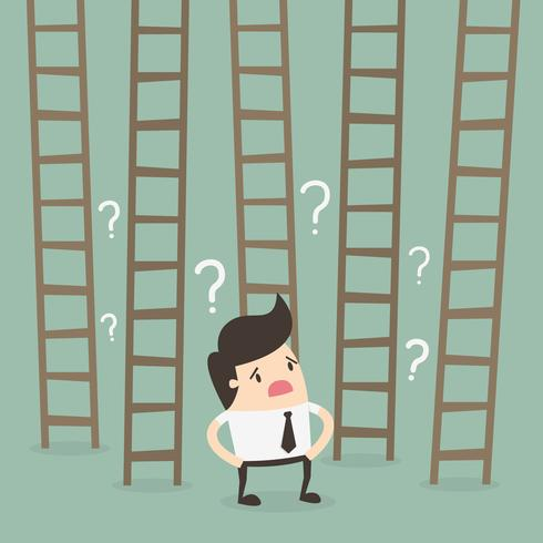 Man in Front of Ladders to Success vector