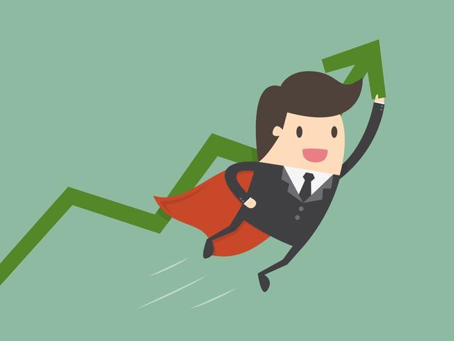 Super zaken man bedrijf groeiende grafiek