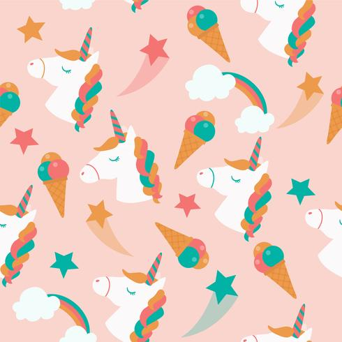 Seamless pattern with unicorn and ice cream vector