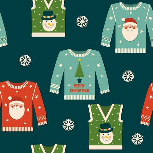 Lindo patrón transparente con suéteres de Navidad. vector