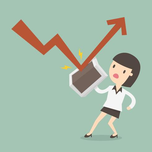 Mujer usando escudo para desviar la caída de ganancias vector