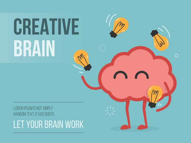 Brain juggling light bulbs vector
