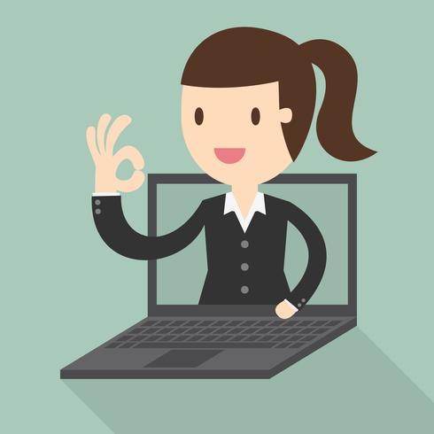 Mujer de negocios en la pantalla del portátil vector