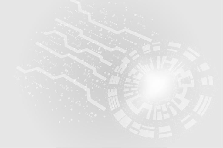 Fondo de círculos de tecnología abstracta blanco gris vector