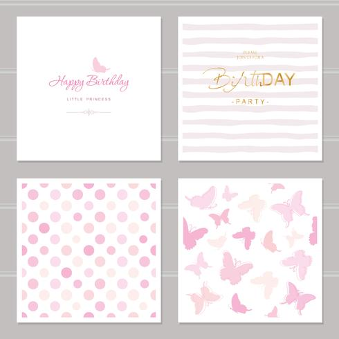 Birthday cards set including seamless patterns in pastel pink