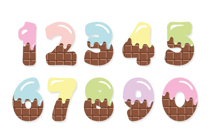 Milk chocolate with melted colored cream set for birthday design.  vector