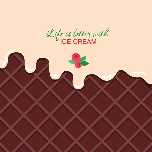 Melted vanilla cream on chocolate wafer background with sample text. vector