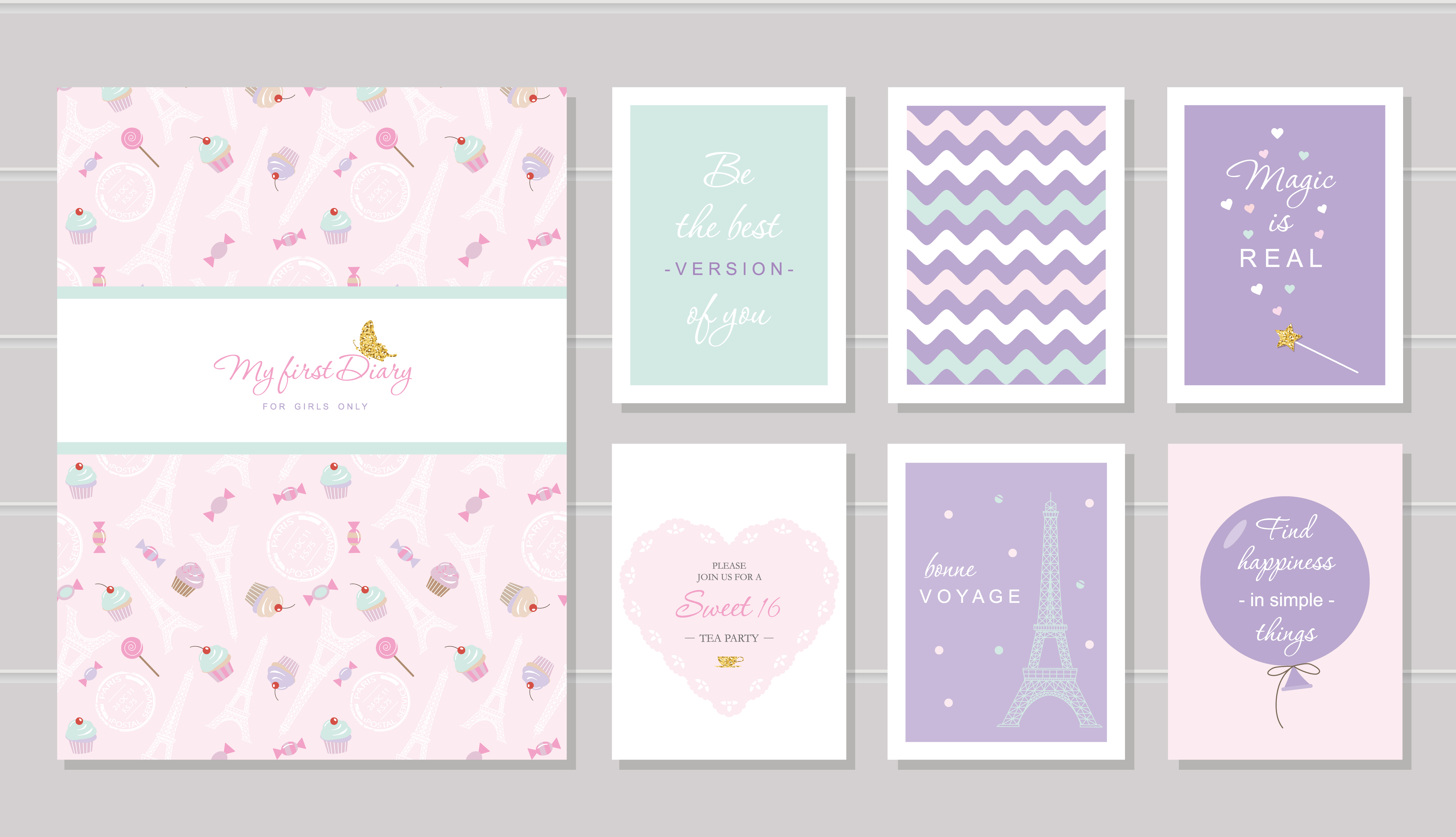 notebook cover and cards design for teenage girls paris theme