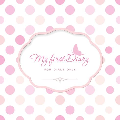 Cute template for notebook cover for girls vector