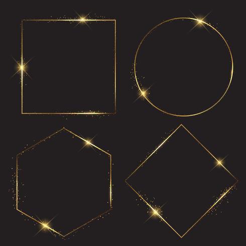 Gold sparkle frames collection vector