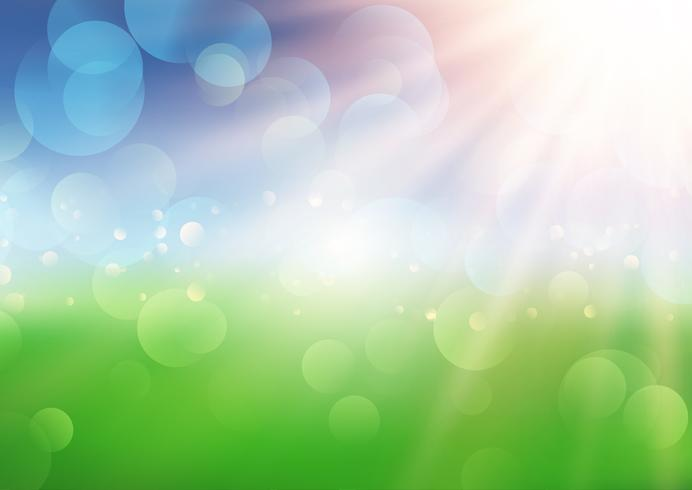 Summer background with sun rays on defocussed landscape  vector