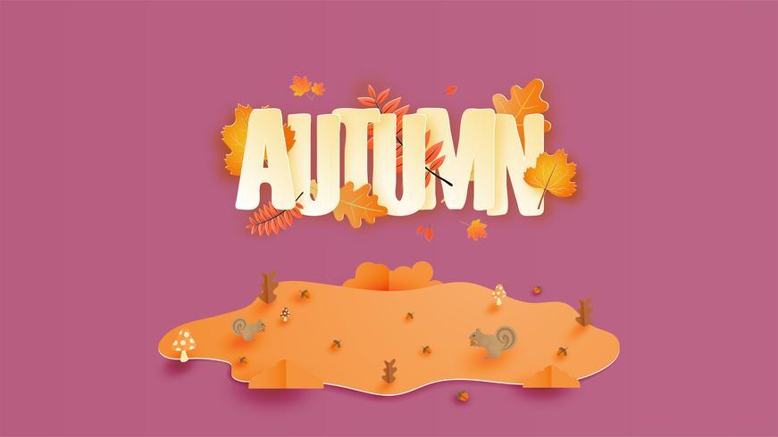 Caligrafia com a temporada de outono