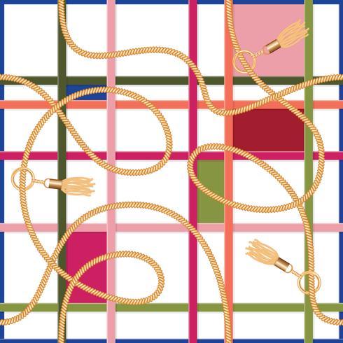 Belts,chains and tassels geometric seamless pattern