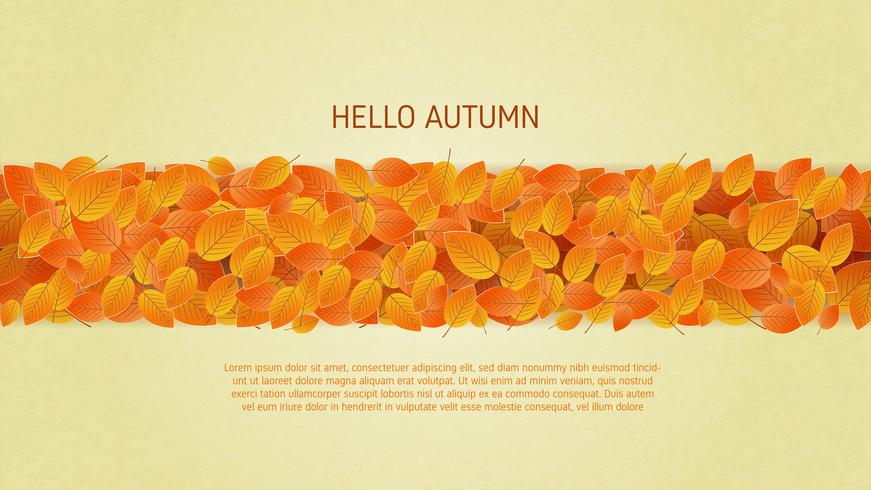 Autumn leafs background in paper cut style