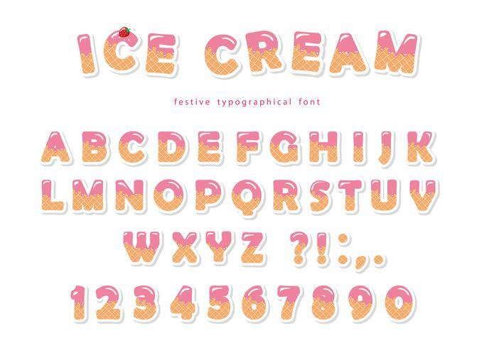Fuente de helado con lindas obleas letras y números vector