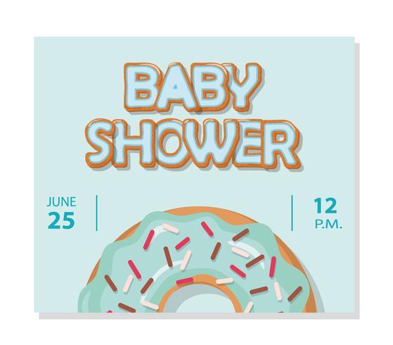 Modèle de carte de douche de bébé pour les garçons. Beignet sucré.